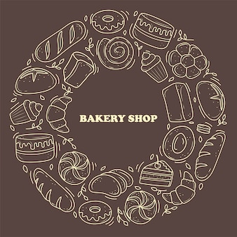 Les produits de boulangerie de bannière sont dessinés dans le style des griffonnages. pain noir et blanc, gâteau, monchik, croissant. illustration vectorielle sur fond blanc.
