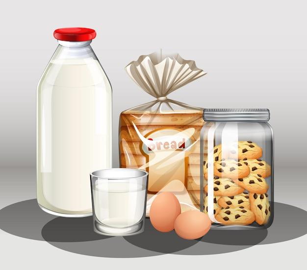 Produits de boulangerie avec bouteille de lait et deux œufs dans un groupe
