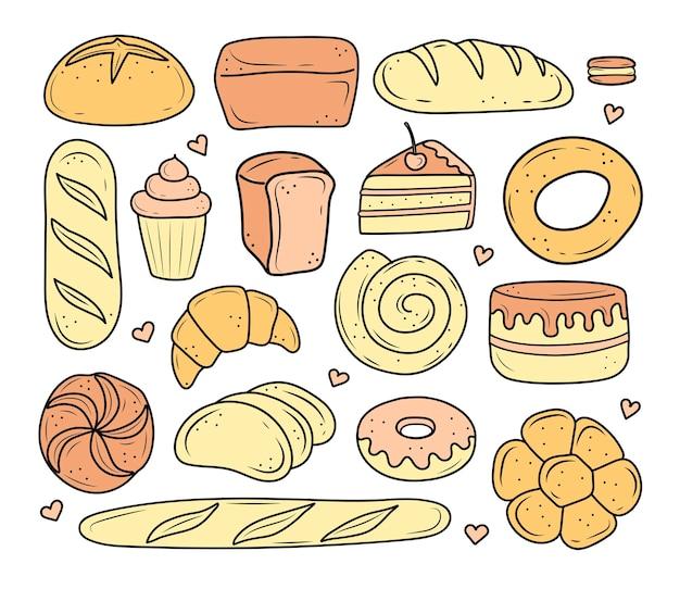 Produits de boulangerie dessinés dans un style doodle.
