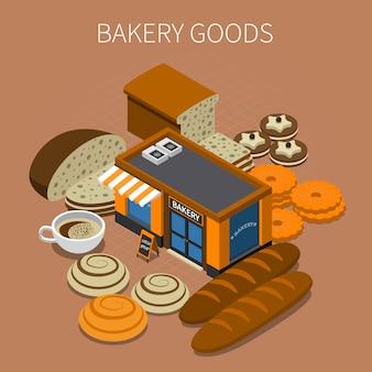 Produits de boulangerie isométrique
