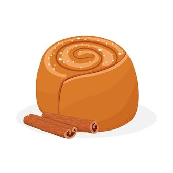 Produits de boulangerie une miche de pain petits pains à la cannelle avec glaçage cannelle
