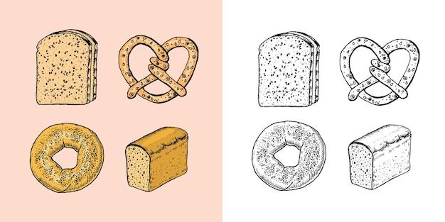 Produits de boulangerie mis en beignet et pain croissant et sandwich gravés à la main dessinés dans un vieux croquis et
