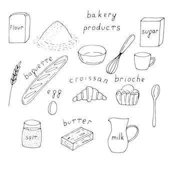 Produits de boulangerie mis en griffonnages d'illustration vectorielle