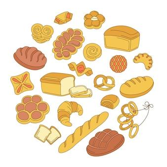Produits de boulangerie situés sur le dessin animé de cercle.