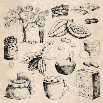 Produits de cacao vectoriels illustration de croquis dessinés à la main.