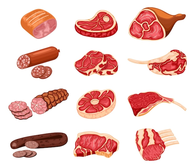 Produits carnés. nourriture de boucherie de dessin animé, poulet, steak de boeuf, porc, côte de bœuf, tranche de bacon et saucisses.
