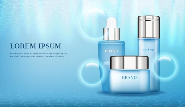 Produits cosmétiques avec des bulles sur fond d'eau