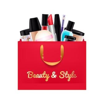 Produits cosmétiques cadeau mis dans le sac de papier rouge.