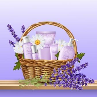 Produits cosmétiques dans un panier en osier