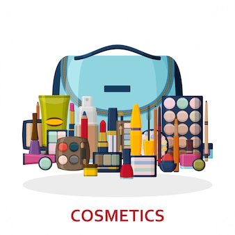 Produits cosmétiques décoratifs pour le visage, les lèvres, la peau, les yeux, les ongles, les sourcils et la trousse de beauté. composez le fond. collection d'icônes plates. illustration.