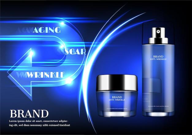 Produits cosmétiques, flèche de retour et barrière sur le concept de fond bleu foncé