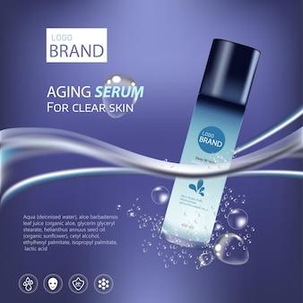 Produits cosmétiques hydratants élégants et fond de mer bleu clair de luxe avec pot de crème dessus