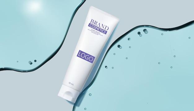 Produits cosmétiques avec illustration de gel d'eau