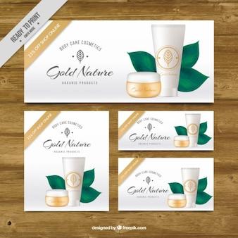Produits cosmétiques naturels brochures dans le style réaliste