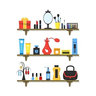 Produits cosmétiques plats sur les étagères