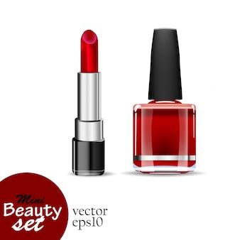Produits cosmétiques réalistes. un rouge à lèvres tube et une bouteille de vernis à ongles sont de couleur rouge saturé isolé sur fond blanc. illustrations mini ensemble de beauté.
