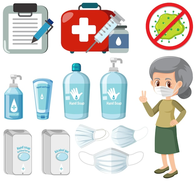 Produits désinfectants pour les mains avec une vieille femme isolée