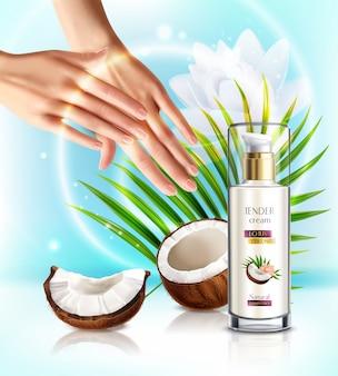 Produits de distribution de pompe de soins de la peau cosmétiques de noix de coco naturelle composition publicitaire réaliste avec une femme appliquant une crème pour les mains