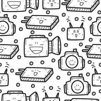 Produits électroniques doodle modèle sans couture de dessin animé