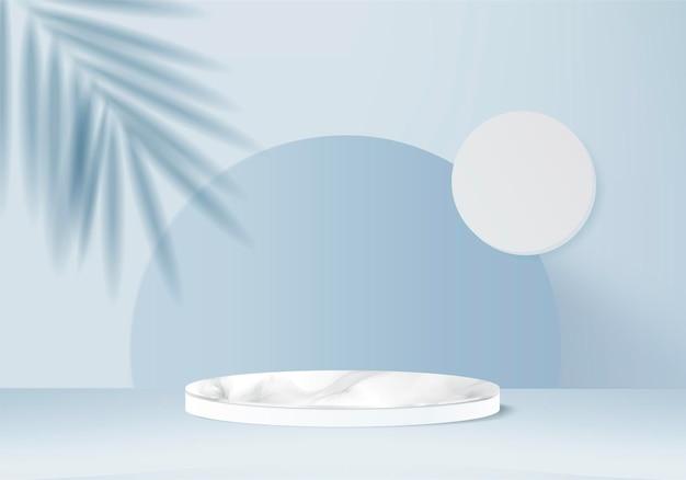 Les produits de fond 3d affichent une scène de podium avec une plate-forme géométrique de feuille verte