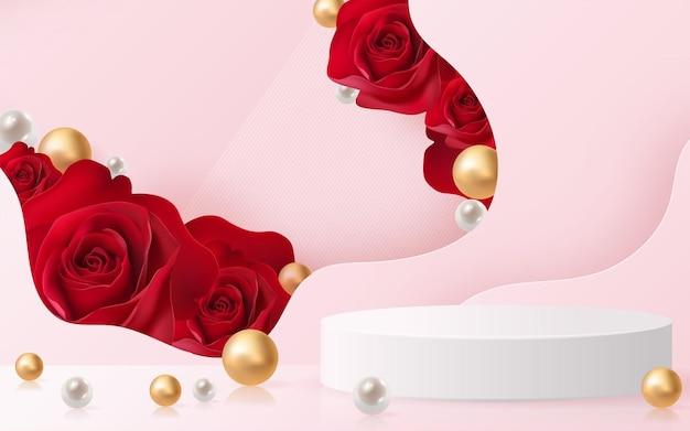 Produits de fond 3d pour le podium de la saint-valentin en vecteur de fond rose rouge 3d avec cylindre. podium pour montrer le produit cosmétique avec un style artisanal sur fond.