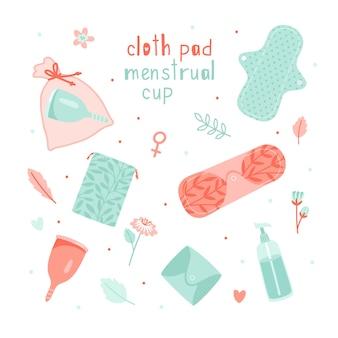 Produits d'hygiène féminine. la coupe menstruelle et le tampon en tissu aident les femmes pendant leurs règles, éléments d'illustration vectorielle pour la menstruation isolés sur fond blanc