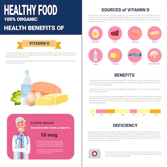 Produits d'infographie d'aliments sains contenant des vitamines, concept de mode de vie nutrition santé