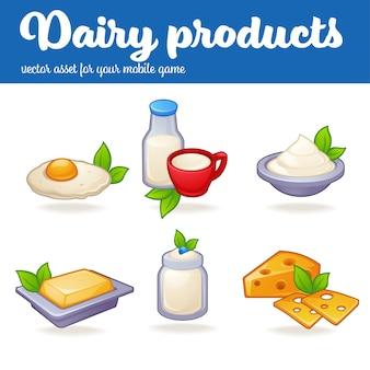 Produits laitiers, actif mobile de jeu vectoriel en style cartoon