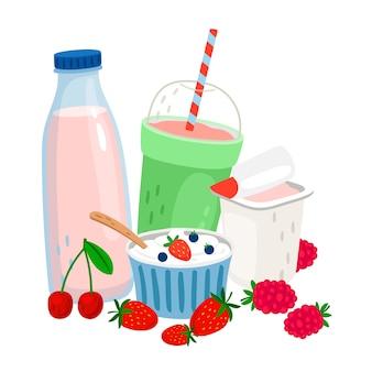 Produits laitiers et baies.