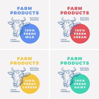Produits laitiers de ferme, visage de vache, logo