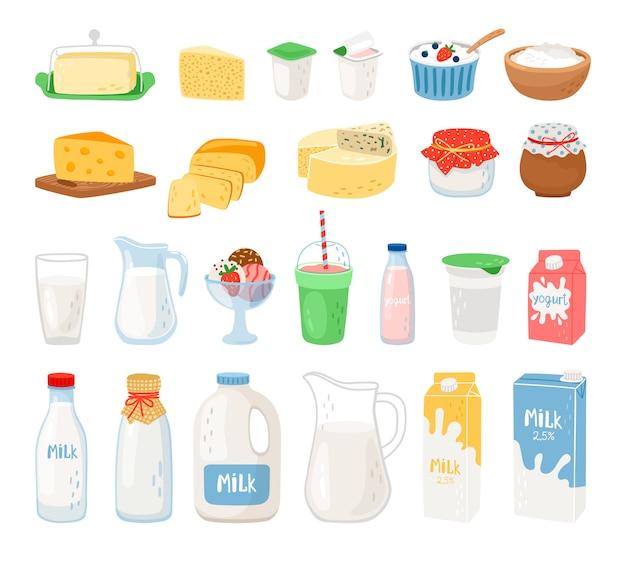 Produits laitiers, lait, yaourt au fromage et crème glacée
