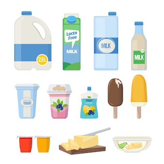 Produits laitiers. produits laitiers yogourt leche fromage crème glacée vector cartoon collection de produits sains naturels. fromage naturel, boire du lait et illustration de yogourt laitier