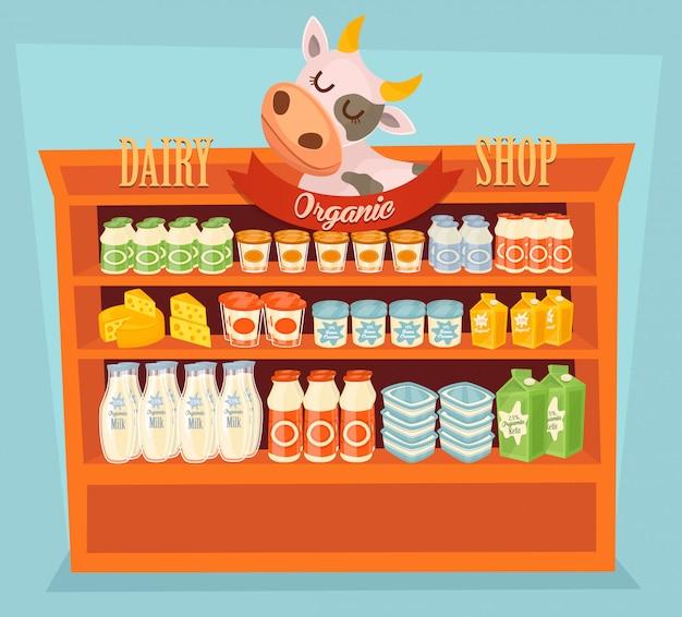 Produits laitiers sur table en bois