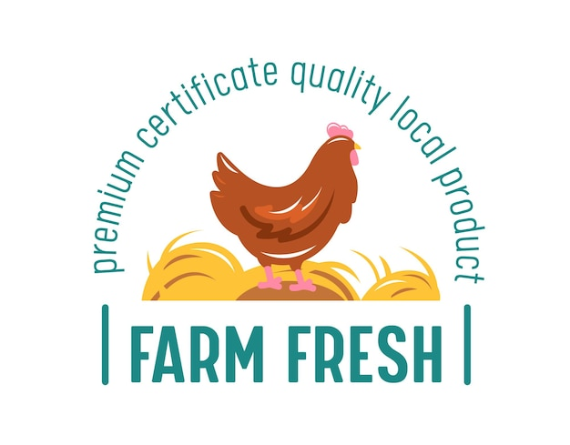 Produits locaux frais de la ferme, bannière alimentaire du marché fermier avec du poulet.