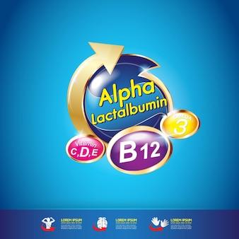 Produits avec logo omega nutrition et vitamin pour enfants.