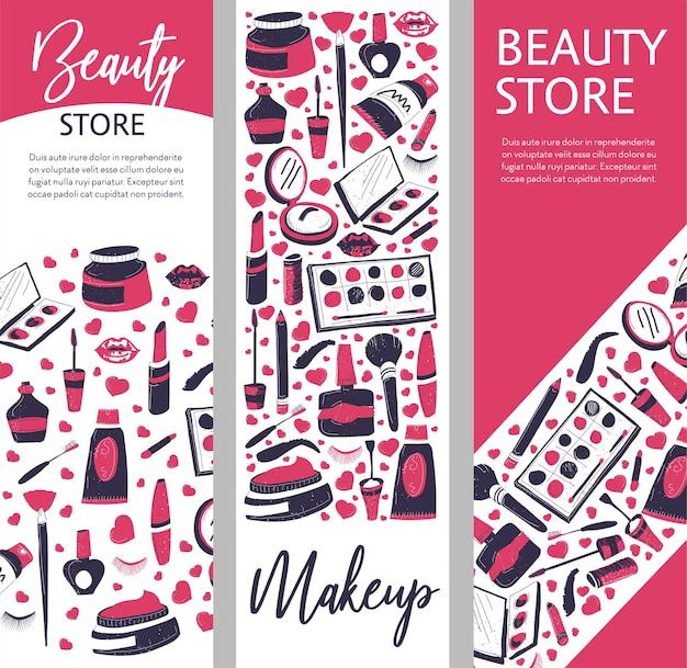 Produits de maquillage et cosmétiques pour dames, boutique ou magasin avec poudres et palettes, mascara et vernis à ongles
