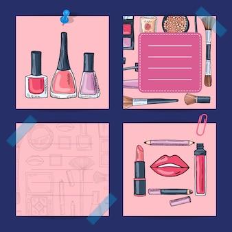 Produits de maquillage dessinés à la main de vecteur