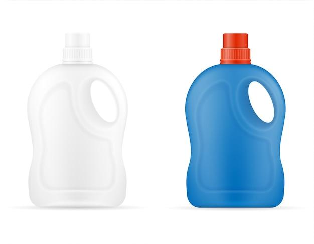 Produits de nettoyage ménagers dans un modèle vide de bouteille en plastique