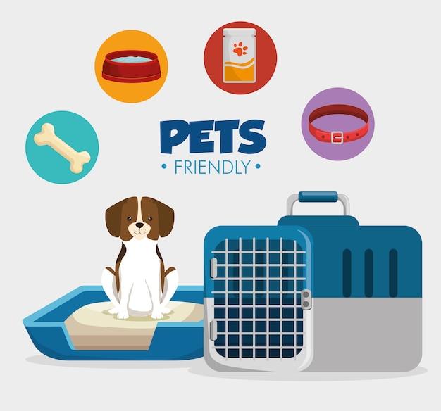 Produits pour animaux de compagnie mis icônes
