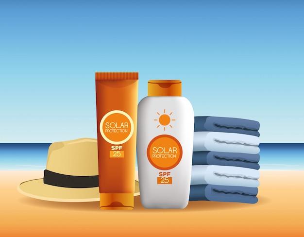Produits de protection solaire pour la publicité d'été