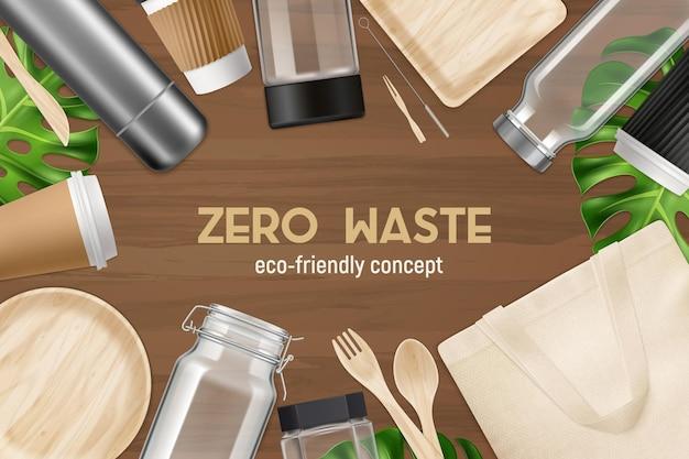 Produits réutilisés recyclés zéro déchet vue de dessus réaliste et écologique