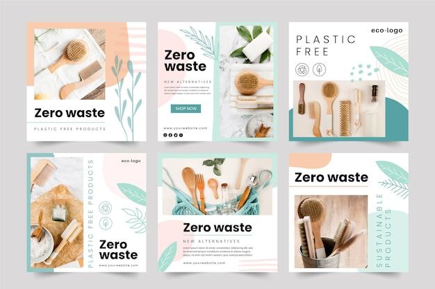 Produits sans plastique zéro déchet instagram posts