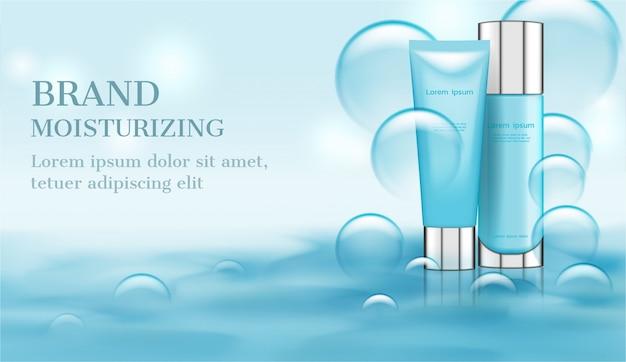 Produits de soin sur l'eau avec de petites bulles