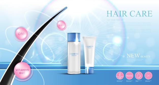 Produits de soins capillaires, prévention des pointes fourchues shampooing sérum, concept de cosmétiques, illustration vectorielle.