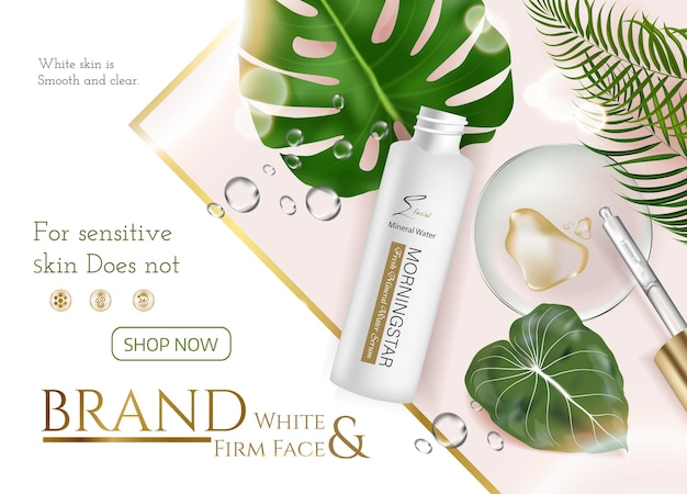 Produits de soins de la peau annonces pour la publicité avec des feuilles tropicales sur fond de pierre de marbre dans l'illustration de la maquette, vue de dessus