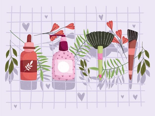 Produits de soins de la peau avec des fleurs