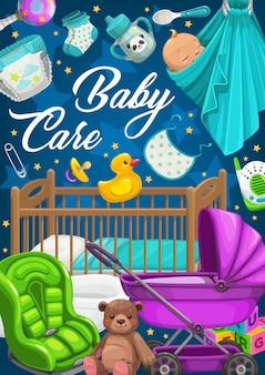 Produits de soins pour bébés, vêtements et jouets