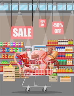 Produits de viande dans le chariot de supermarché. comptoir de vitrine de boucherie de magasin de viande. produit de tranches de saucisse. produit gastronomique de charcuterie de boeuf porc poulet salami. style plat d'illustration vectorielle