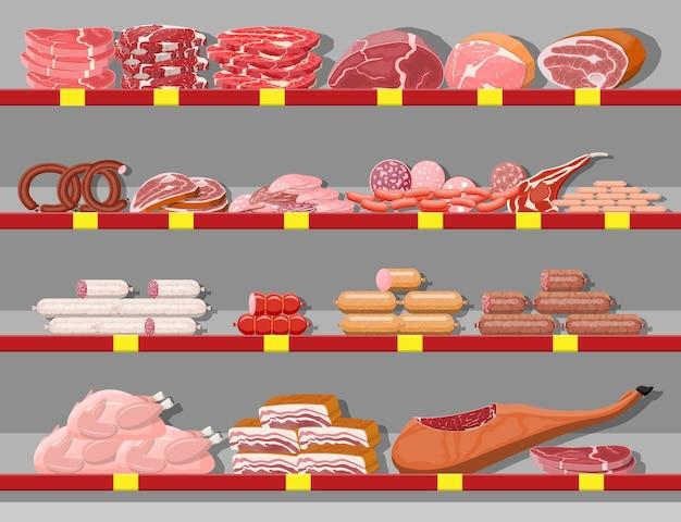 Produits de viande en étagère de supermarché. comptoir de vitrine de boucherie de magasin de viande. produit de tranches de saucisse. produit gastronomique de charcuterie de boeuf porc poulet salami. style plat d'illustration vectorielle