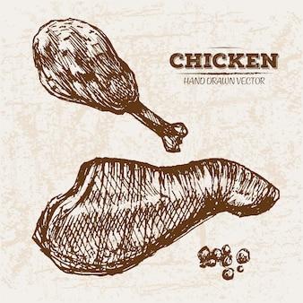 Produits de viande de poulet dessinés à la main